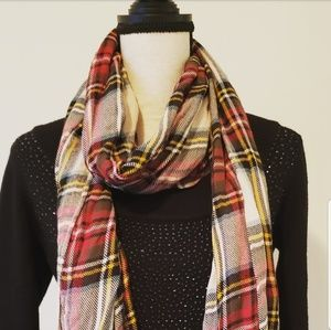 🍉 Fall Scarf Red Brown White Blue Yellow